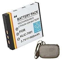 Extended Life Replacement Digital Camera and Camcorder Battery for Kodak KLIC-7001, EasyShare V550, V570, V610, V705, M320, M340, M341 - Includes Hard Case Camera Bag