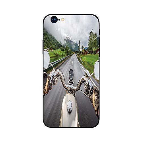 Phone Case Compatible with iphone6 Plus iphone6s Plus mobile phone protecting shell Brandnew Tempered Glass Backplane,Man Cave Decor,Biker Rides Motorcycle Highway Lifestyle Speed Adventure Foggy Rura