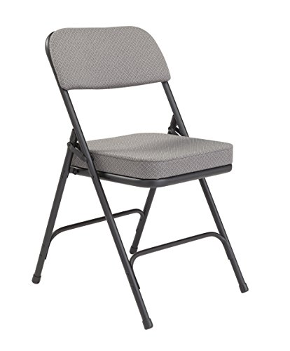 National Public Seating 3200 Series Steel Frame Upholstered Premium Fabric Seat and Back Folding Chair with Double Brace, 300 lbs Capacity, Charcoal Gray/Black (Carton of 2) by NPS