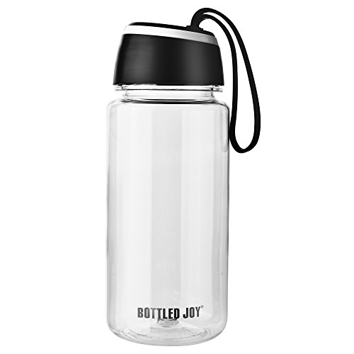 BOTTLED JOY Sports Water Bottle with Durable Silicone Straps, BPA-Free Wide Mouth Tritan Sports Bottle, Spill Proof Sip and Leak Proof Drinking Bottle (Black)