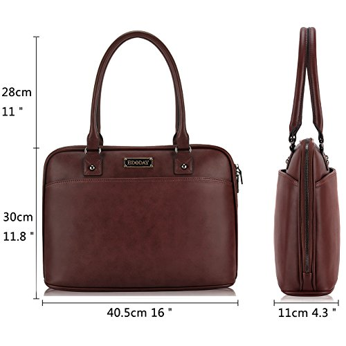 Laptop Bag for Women,15.6 Inch Laptop Tote Bag for Bussiness Work,Most Convenient Full Open Zipper Design[L0009/Coffee] by EDODAY (Image #6)