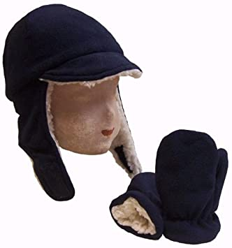 fa89a4ac1e1ce Amazon.com   N Ice Caps Boy Sherpa Lined Fleece Brim Flap Hat and ...