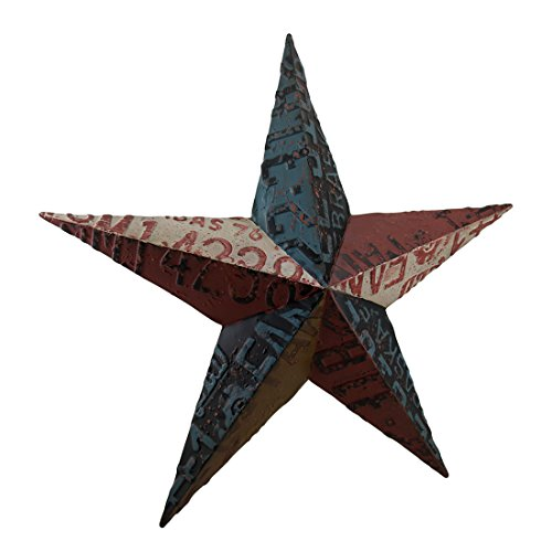 Zeckos Metal Wall Sculptures Rustic Metal License Plate Barn Star Wall Hanging 24 X 24 X 3.5 Inches Multicolored