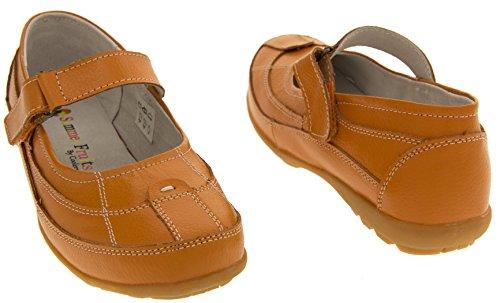 Verano Mujer Zapatos de Mary Coolers Jane Cuero Naranja Plana O0Awzz