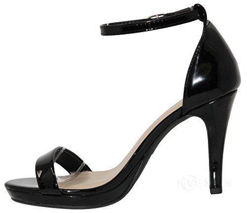 Band Strap Shoes Pat Sexy Stiletto Pumps Black Heels High Party Open Shoes Women's Single MVE Dress t Ankle Toe ZnxT47qXwH