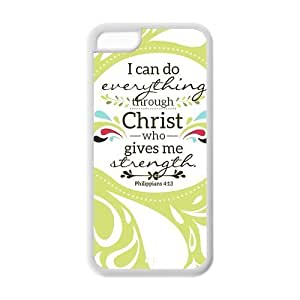 diycover iPhone 5C Case - Christian Theme - Bible Verse Philippians 4:13 - Durable and lightweight Cover Case