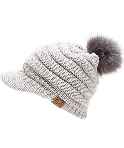 MIRMARU Women's Soft Warm Ribbed Knit Visor Brim Pom Pom Beanie Hat with Plush Lining (LIGHTGREY) ()