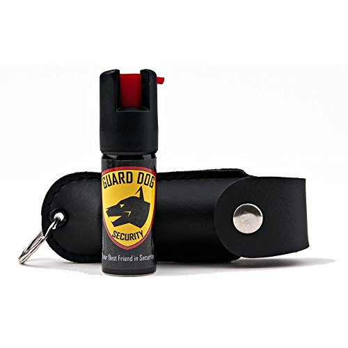 Guard Dog Security Pepper Spray Keychain, Red Hot Self Defense Spray with UV Dye - Choose a Leather Holster Color, Black