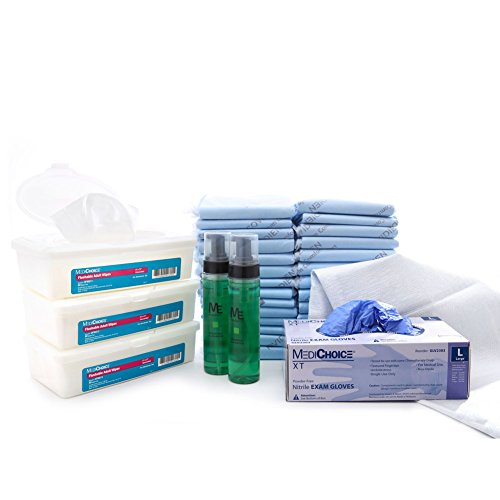 MediChoice Incontinence Bundle w/Underpads-Skin Cleanser-Gloves-Wipes, INBUNA0201 (Bundle of 7 Items)