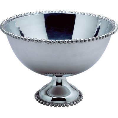 KINDWER Huge Beaded Aluminum Punch Bowl, 16-Inch, Silver ()