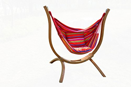 Wooden Arc Hammock Stand Curved Outdoor Hammock Swing Chair Set single Person Cotton Hammock Garden Patio by HZchenyi
