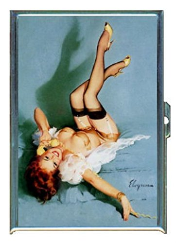 Redhead Pin Up Girl Telephone Stainless Steel ID or Cigarettes Case (King Size or 100mm) (Red Head Pin Up)