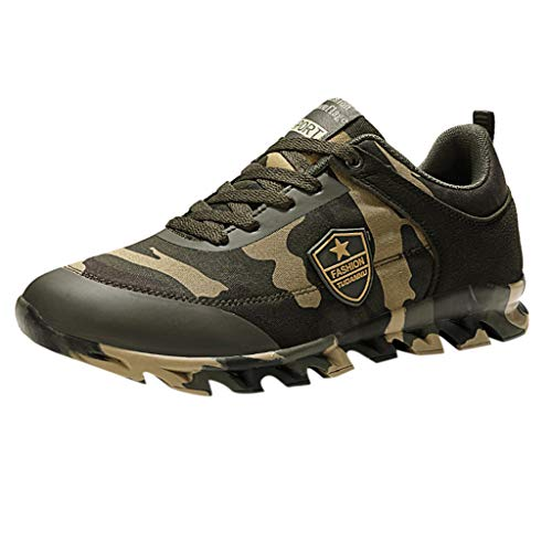 Women & Mens Hiking Shoes Camouflage Outdoor Work Lace Up Sneakers Breathable Sport Shoes (US:7.5, Camouflage)