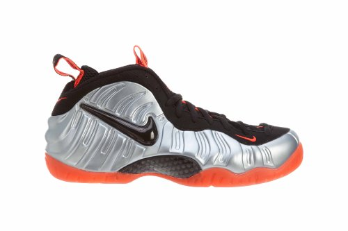 Nike Air Foamposite Mens Pro Basketball-shoes 624.041 Mtlc Platino, Blk-brght Crmsn