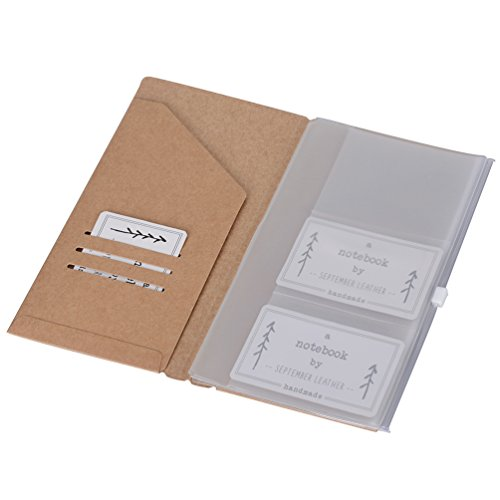 (Set of 2) Kraft File Folder + Zipper Pouch & Card Sleeve - Refills for Standard Travelers Notebook