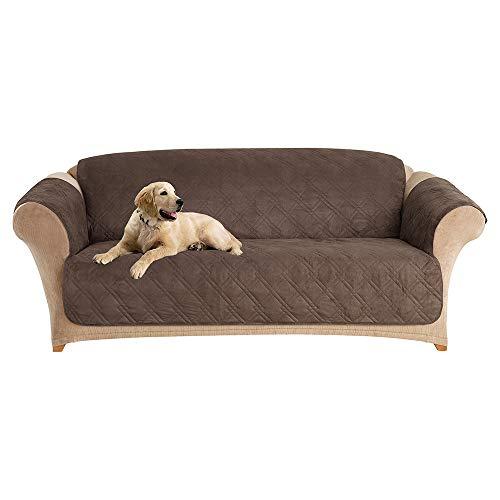 SureFit  Microfiber Sofa Pet Throw/Slipcover with Arms, Chocolate