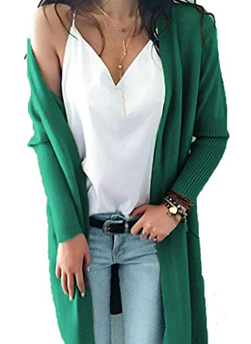 Womens Open Front Long Knit Cardigans Long Sleeve Pocket Sweater Coats Outwear XL Green
