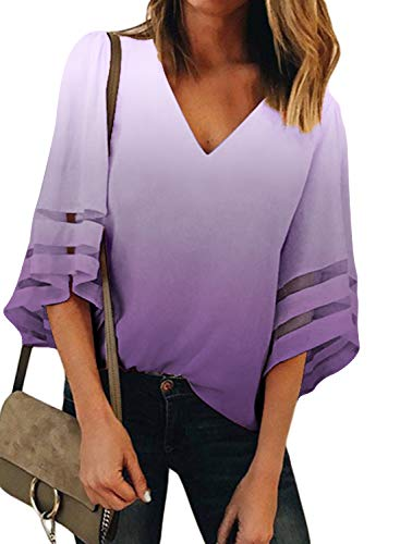 (BLENCOT Women Cute Tie Dye V Neck 3/4 Bell Sleeve Fashion Chiffon Blouses Casual Loose T-Shirt Tops Purple M)