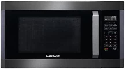 Farberware Black FMO16AHTBSE 1.6 Cubic Foot 1300-Watt Microwave Oven - Smart Sensor and Inverter, Black Stainless Steel