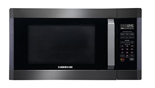 Farberware Black FMO16AHTBSA 1.6 Cu. Ft. 1300-Watt Microwave Oven with Smart Sensor Cooking, Inverter Technology, ECO Mode and LED Lighting, Black Stainless Steel