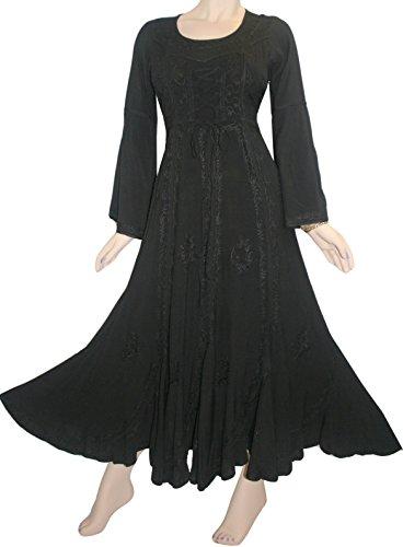 205 DR Agan Traders Peasant Scalloped Hem Dress (Black, Medium) (Medieval Dresses)