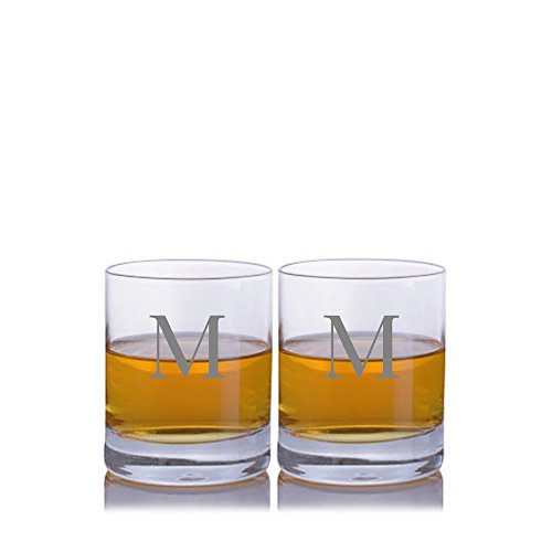 (Personalized Crystalize Crystal Whiskey Rocks Glass with Titanium 2pc Set Engraved & Monogrammed - Great Gift for Father's Day, Weddings and Groomsmen)