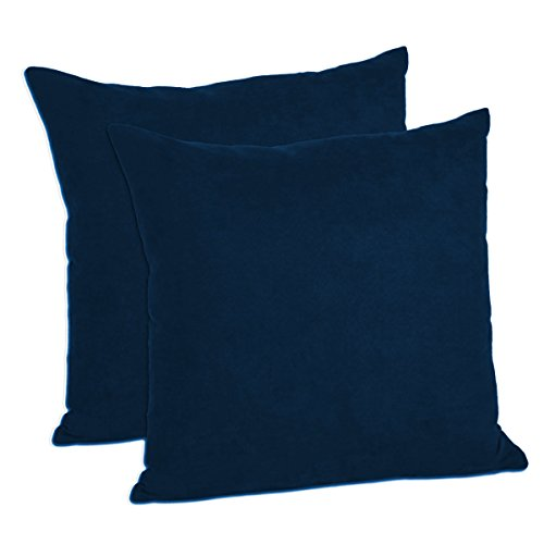 "MoonRest - Pack of 2- Faux Suede Decorative Throw Pillow Case Cushion Cover (20""x20"", Navy)"