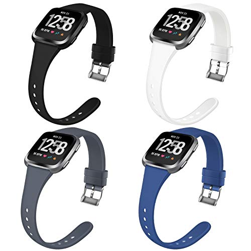 Coperr 4 Packs Bands Compatible with Fitbit Versa/Fitbit Versa 2/Fitbit Versa Lite for Women Men, Narrow Slim Soft…