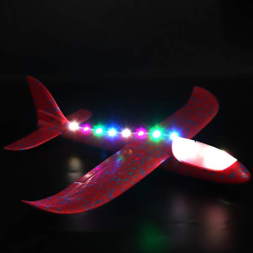 AMOFINY Fashion Baby Toys New Foam Throwing Glider Airplane LED Night Flying Aircraft Toy Airplane Model Gift for $<!--$4.70-->