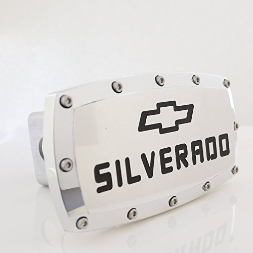 - Chevrolet Red Silverado Engraved Billet Aluminum Tow Hitch Cover