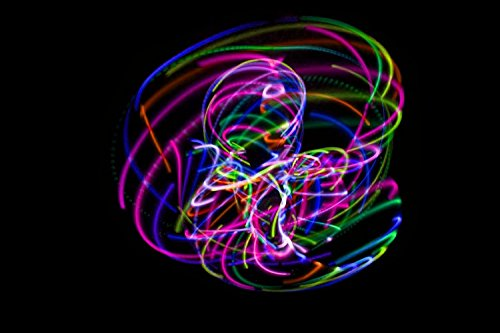 LED Hula Hoop Fully Rechargeable and Collapsable - 28 Color Strobing and Changing LED Lights - Multiple Sizes Available - Light Up Hoola Hoops for Adults and Kids - Technicolor Prism