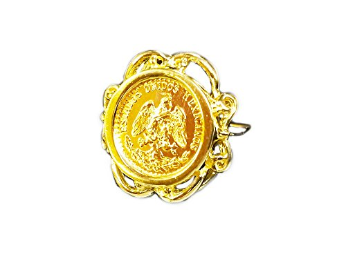- 14K Gold Ladies 19 Mm Coin Ring With A 22K Mexican Dos Pesos Coin -Random Year Coin