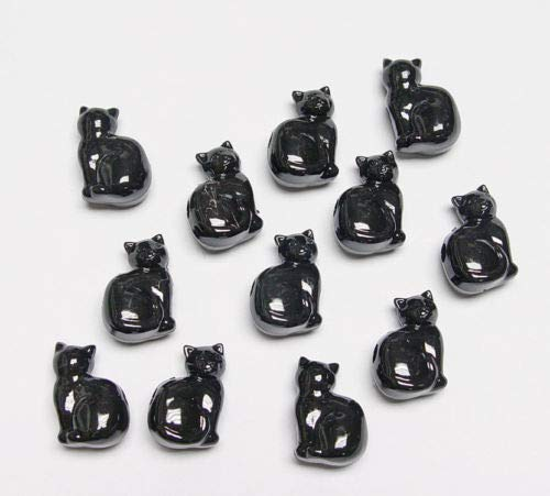 25 Black Cats Shaped Pony Beads Made n USA Halloween Crafts Jewelry Costume Kids