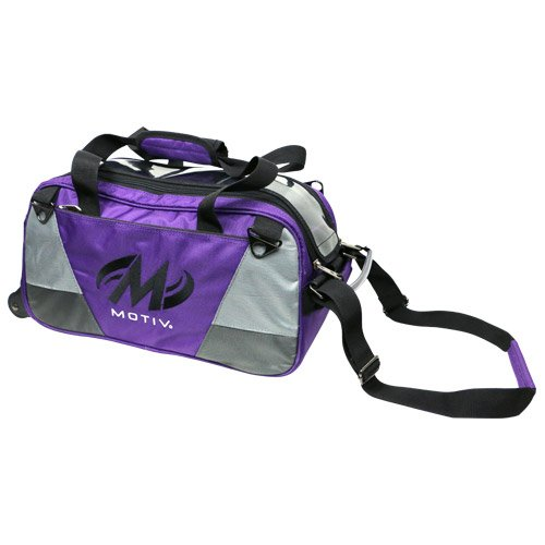 Motiv Ballistix 2 Ball Tote Purple Black/Grey/Purple (Bowling 2 Ball Tote Bag)