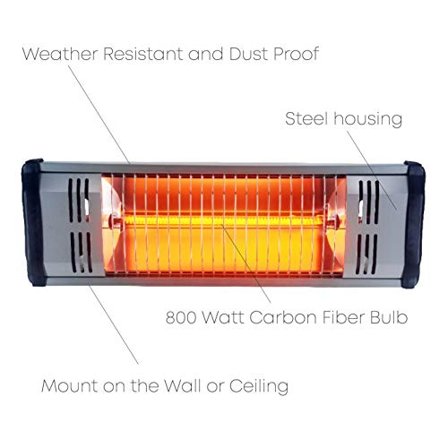 Heat Storm Outdoor Infrared Heater IP35 Rated – Maintenance Free – Silent Directional Heating (800 W 6.5′ Cord)
