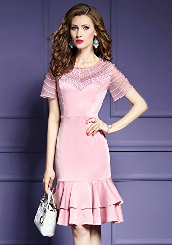 Slim Dresses Women Side Solid Dress Ruffle s cotyledon Pink Fit Color cn1SZnq