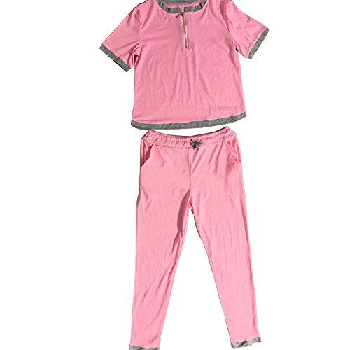Chuangkeying Women Casual Sports Suit New Fashion Summer Short Sleeve Sportswear Suits-Pink-L