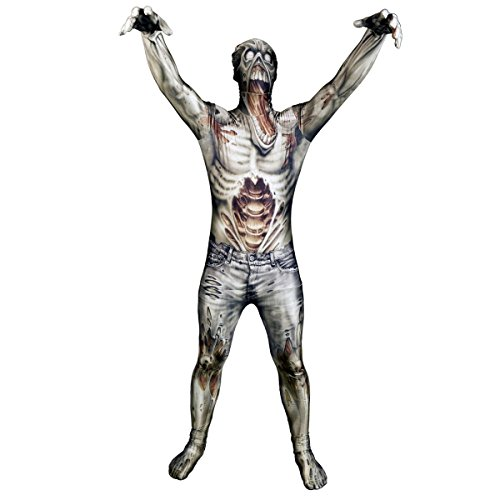 Zombie Halloween Costume Male (Morphsuits Men's Monster The Zombie Skinsuit,)