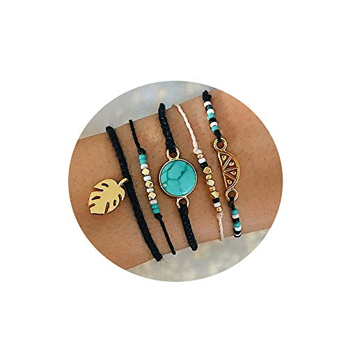 Handmade Bohemian Braided Wax Rope Adjustable Strand Wrap Bracelet Set Waterproof Wave Shell Charm Stretch Knot String Thread Bracelets Anklets Friendship Jewelry ()