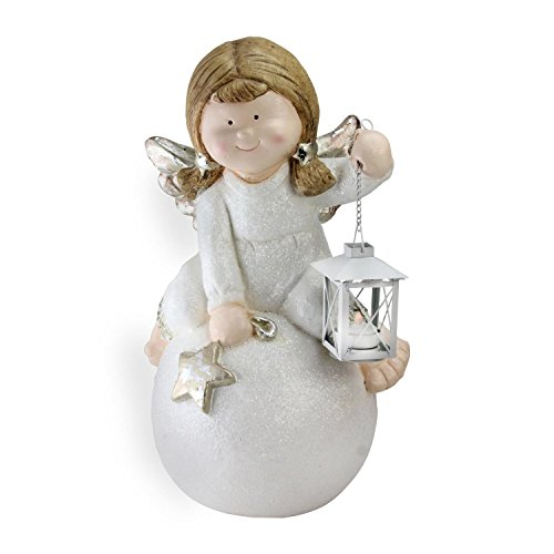 """(Northlight 17.75"""" Glittered Angel with Candle Lantern Christmas Table Top Decoration)"""