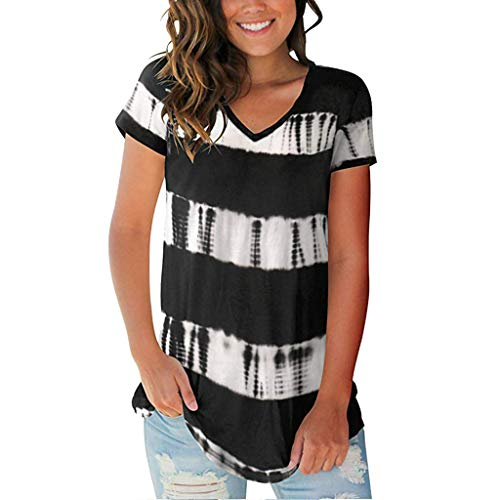 - 〓LYN Star〓 Womens Casual Tunic Tops Pocket Shirt Short Sleeves Solid Color&Tie Dye Blouse Super Colorful Tie Dye T-Shirt Black