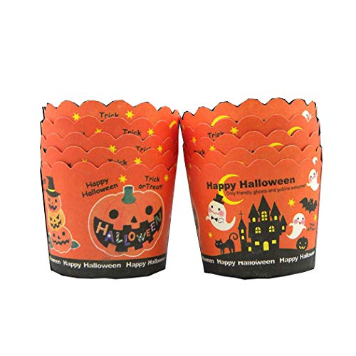 50 Pcs Halloween Pumpkin Ghost Pattern Hard Thick Muffin Halloween Cupcake Liners Lace Cake Tools]()