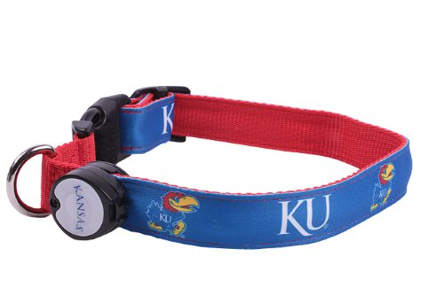 NCAA Kansas Jayhawks LED Light Up Dog Collar, Large/15-20-Inch
