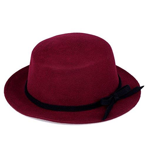 Vbiger Wool Flat Brim Fedora Hat (Wine Red)
