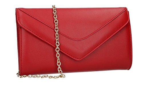 Bolsa mujer MADE IN ITALY pochette embrague de sobre rojo de ceremonia VN2388