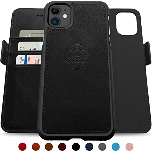 Dreem Fibonacci 2-in-1 Wallet-Case for iPhone 11, Magnetic Detachable Shock-Proof TPU Slim-Case, Wireless Charging OK, RFID Protection, 2-Way Stand, Luxury Vegan Leather, Gift-Box - Black