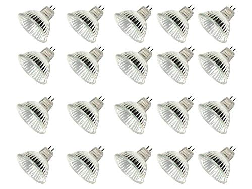 TCP Halogen MR16, 20 Pack, 35⁰ SPOT, 50 Watt Equivalent (Uses only 37 Watts), 12 Volt, GU5.3 Base, 5000 Hours, Bright White 3000K, Spot Light Bulbs ()