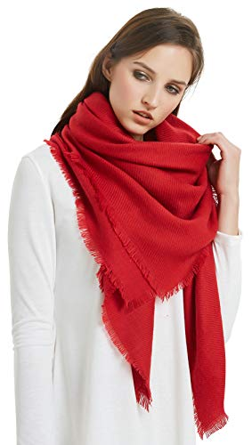 VIVIAN & VINCENT Soft Classic Luxurious Blanket Solid Color Square Scarf Wrap Red