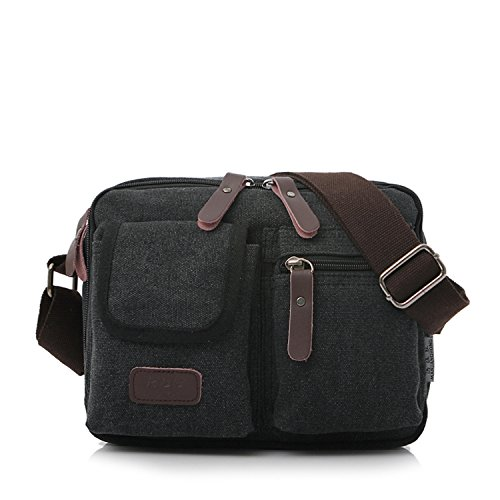 MeCooler Bolsos Hombre Bandolera Vintage Bolsas de Viaje Pequeñas Marca colegio Bolso de Tela para Mujer Escolares Outdoor Sport Casual Messenger Bag Negro