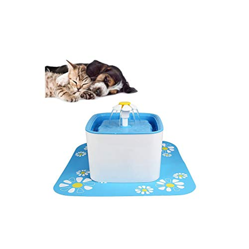 2.5L Automatic Cat Water Fountain Electric Water Fountain Dog Cat Pet Drinker Bowl Pet Blue Drinking Fountain,with Mat,Au Plug